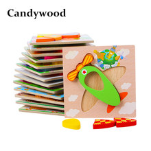 Candywood New 3D Wooden Puzzle Jigsaw High quality Beech Wood toys for Children Cartoon Animal Puzzle for baby boy and girl(China)