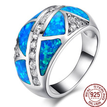 Aceworks Top Grade Blue Opals Gem 100% Solid 925 Sterling Silver  Rings Women/Men Anniversary Best Gift Jewelry Bohemia Vintage