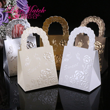 25Pcs Handbag Design Paper Candy Box,Sweet Flower Gift Box For Baby Shower,Wedding Candy Box With Garlands,Event Party Supplies