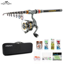 2.1/2.4/2.7/3m Automatic Fishing Rod Reel Combo Full Kit Telescopic Pole Spinning Reel Set With Line Lures Hooks Bag Case Pesca