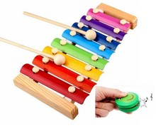 BOHS Melody Piano and Castanets Baby's Early Education Wooden Musical Instrument Toys Trailer 8 Scales , 24*13cm