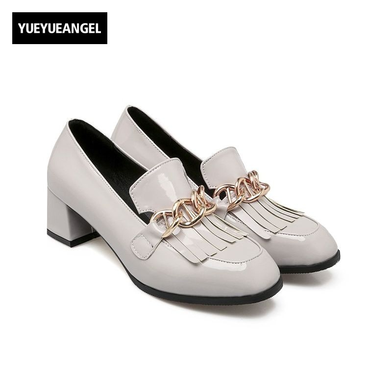 British Casual Block Heel Ladies Shoes Faux Patent Leather Tassel Metal Chain Slip On Loafers Retro Womens Pumps Plus Size 32-48<br>
