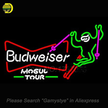 "Ski Mogul Tour Budweiser Neon Sign Neon Bulb Sign Glass Tube Handcrafted Recreation room neon lights personalized Lamps 24""x18"""
