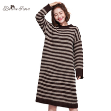 BelineRosa Winter Striped Dresses for Women Loose Style Winter Knitting Dress Korean Sweater Clothing for Women TYW00644