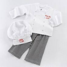 Retail Baby Boys Three Piece Clothing Sets Baby Chef Long Sleeve Plaid Fashion Outfits With Hats Infant Clothing 0-3Y E16181(China)