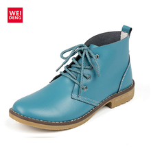 WeiDeng Genuine Leather Women Boots Fashion Winter Lace Up Classic Shoe High Style Flats Brand Casual Shoes Boots 4 Color(China)