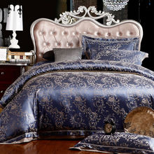 garden style floral print deep blue linens silk cotton jacquard duvet cover sets Queen/Full/Double/King Size bedding sets