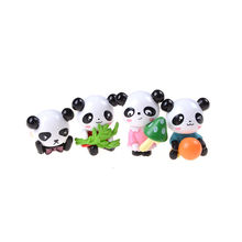 Funny 4 Pcs Mini Panda Figurines For Home Decoration Accessories Fairy Garden Miniatures Gnomes Moss Resin Crafts(China)