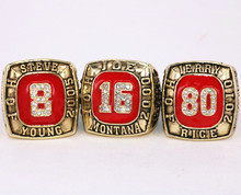 3pcs/set USA size 11 Hall of Fame number 8 16 80 championship rings replica JOE MONTANA/JERRY RICE/ STEVE YOUNG drop shipping(China)