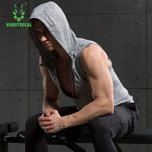 Vansydical Men Sport Compression Shirts Running Fitness Tee Gym Training Sleeveless Tank Top Hooded(China)