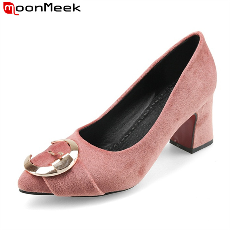 MoonMeek 2017 top quality women pumps thick high heels slip-on round toe metal decoration pu Nubuck Leather ladies shoes<br>