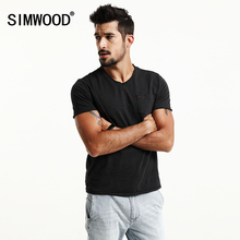 SIMWOOD 2017 Summer T Shirt Men Pocket Curl Hem Slim Fit Casual Tops V neck Cotton Brand Clothing TD017056