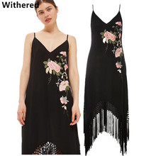 Withered women dress floral embroidery by hand casual mess cotton and linen tassel sexy spaghetti strap dress women maxi dress(China)