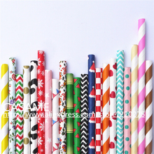 wholesale 10000pcs 233designs 10000 400pack Eco-friendly straws paper straw wedding banquet straw color party Drinking straws(China)