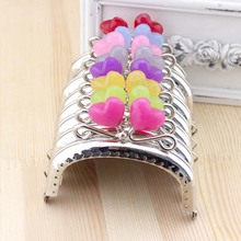 C62 lovely silver arc-shaped 8.5CM Heart-shaped candy bead Metal Purse Frame Handle for Bag Sewing Craft,Coin Purse Frames 5pcs(China)