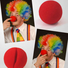 5.5cm Sponge Ball Red Clown Magic Nose /Christmas Party Disco Rainbow Afro Clown Hair Football Fan Adult Child Costume Curly Wig
