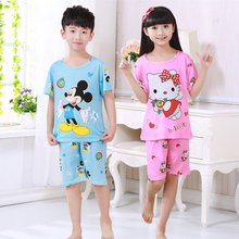 Children's pajamas set summer short sleeved boy pyjamas girls cute cartoon home cloth big children's sleepwear set kids pajamas