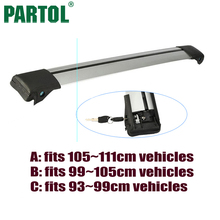 Partol 1x Silver Car Roof Rack Cross Bar Auto luggage Rack Boxes Roof Rail Anti-theft Lock System Universal For 93 99 105 111cm(China)