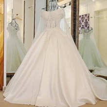 2016 Hot Selling Custom Made Luxury A Line Wedding Dresses Vestido de Noiva Casamento Lace Backless Robe De Mariage with Veil