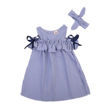 Hot Summer Toddler Kids Baby Girls Clothes Blue Striped Off-shoulder Party Gown Formal Dress(China)