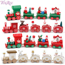 FENGRISE 2017 Natal Navidad Ornaments Wooden Little Train Gifts Children Christmas Decoration For Home Happy New Year Supplies