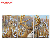 WONZOM HD Printed 3Pcs Deer Farm Wall Pictures Framed Directly To Hang For Living Room Large Modern Cuadros Decoracion 2017 Gift(China)