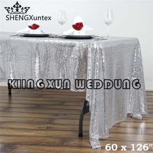 "5PCS Sale 60""*126"" Rectangular Sequin Table Cloth \ Cheap Price Wedding Tablecloth Free Shipping"