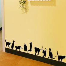 9 cute cats playing wall stickers room decoration 706. 3d diy vinyl adesivos de paredes home decals animals mural art poster 4.0(China)