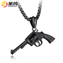 Buy European Style Hip Hop Chain Men Pendant Necklace Silver/Black/Gold Color Stainless Steel Vintage Roscoe Gun Necklace Jewelry for $6.50 in AliExpress store