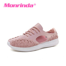 Buy Monrinda Breathable Weave Shoes Women Walking Summer Sneakers Hollow Shoes Platform Flat Shoe Pink White Female Sneaker A88 for $24.86 in AliExpress store