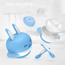 6pcs/sets Rabbit Sucker Feeding Dish Baby Sucker Bowl with Spoon Fork Baby Food Tableware Kids Training Dishes Food Container(China)