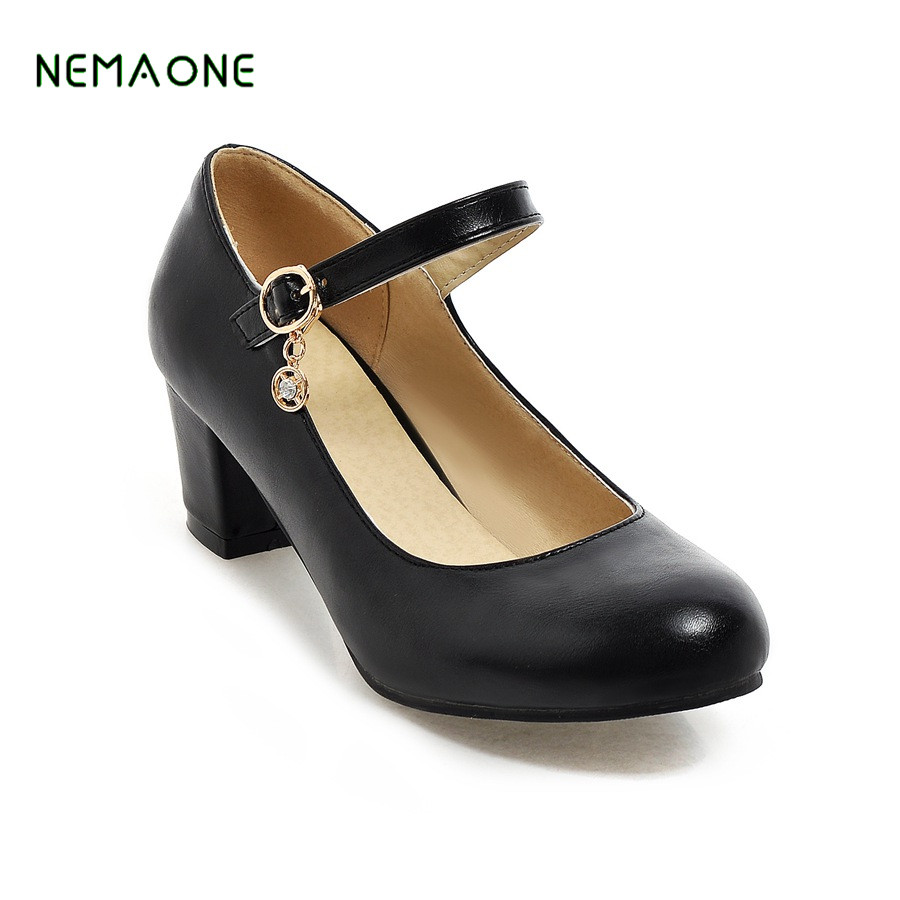 NEMAONE 2018 NEW women square high heel shoes  patent leather spring pumps brand heeled footwear lady heels shoes<br>