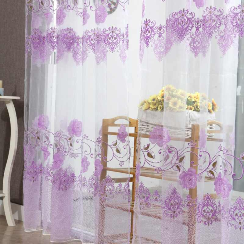 Fashion Window Curtain Flower Print Tulle Voile Drape Panel Sheer Scarf Valances Curtains