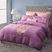 Svetanya Bird Flower Embroidered Bedding Sets Queen King Size Bedlinen 100% Egyptian Cotton Duvet Cover Set Purple(China)