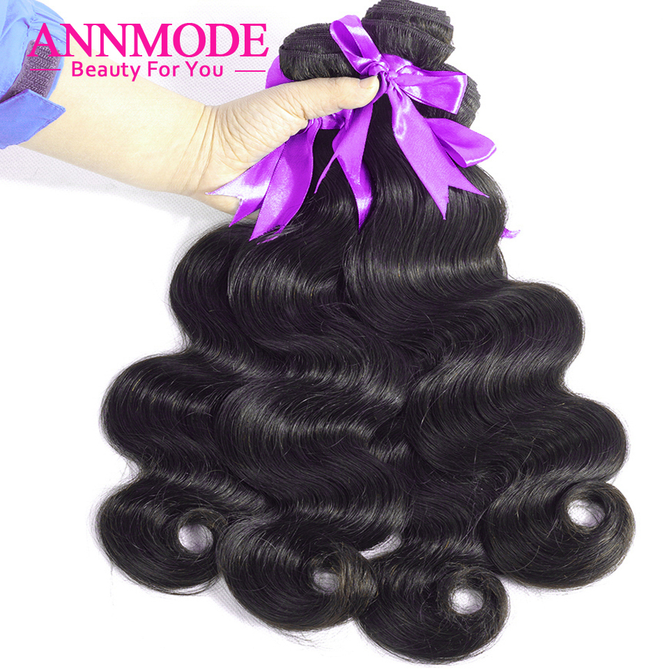 Body Wave Brazilian Hair Weave Bundles With Free Shipping A Piece Annmode Non-Remy Human Hair Extensions Can Match Closure(China)