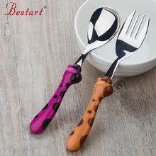 Children Lovely Giraffe Fork Spoon Set Safe 304 Stainless Steel 1set/2pieces Baby Cutlery Sets Outdoor Travel Camping Dinnerware