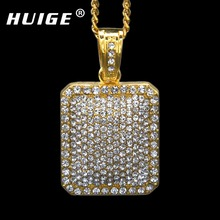 "Mens Full Iced Out Rhinestone Gold Silver Color Square Dog Tag Pendant 5mm*30'' /3mm*24"" Cuban Chain Hip Hop Blingbling Necklace(China)"