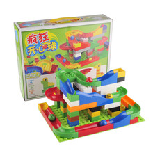 DIY Construction Marble Race Run Maze Balls Track Building Blocks Colorful Kids Children Block Toys Gifts(China)