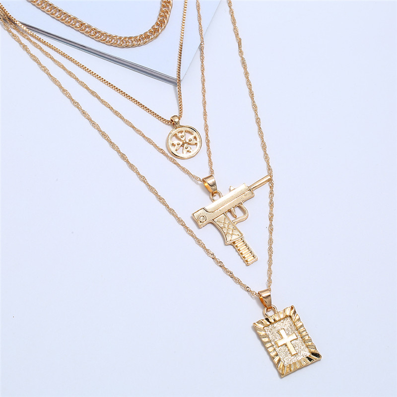 Fashion Long Chain Silve Cross Pendant Gun Necklace For Women Gold Layered Necklace Christ Choker Multi Necklace Vintage Jewelry(China)