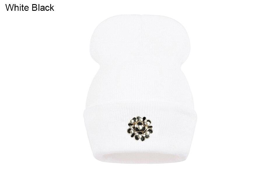 Ralferty Winter Hats For Women Flower Beanies Skullies Female bonnet femme gorros cappelli Cap Beanie gorra Black Acrylic Hat 3
