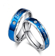 "316L stainless stell classic blue plated color ""forever love"" couple rings(China)"