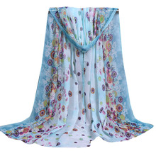 Shocking Show Women Ladies Large Flowers Pattern Print Chiffon Scarf Warm Wrap Shawl