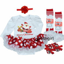 Christmas Dress 2018 Baby Girl Dress 4pcs/set Outfit Jupersuit Clothing Babies Bebe Dress + Shoes+socks+hairband Newborn Clothes(China)