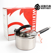 16cm Stainless Steel Stock Pot With Cover Handle Non-stick Induction Cooker Heating Restaurant Kitchen Cooking Milk Soup Pots