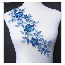 DHL Free Shipping 10pcs/lot x New Blue/Silver Polyester Flower Venise Lace Trim Sewing DIY Craft Neckline Applique Patches BNC92(China)
