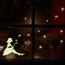 "Glow In The Dark""Dandelion Girl""Luminous Cartoon Kids Sticker/Removable Vinyl Wall Sticker/Funiture 3D Sticker"