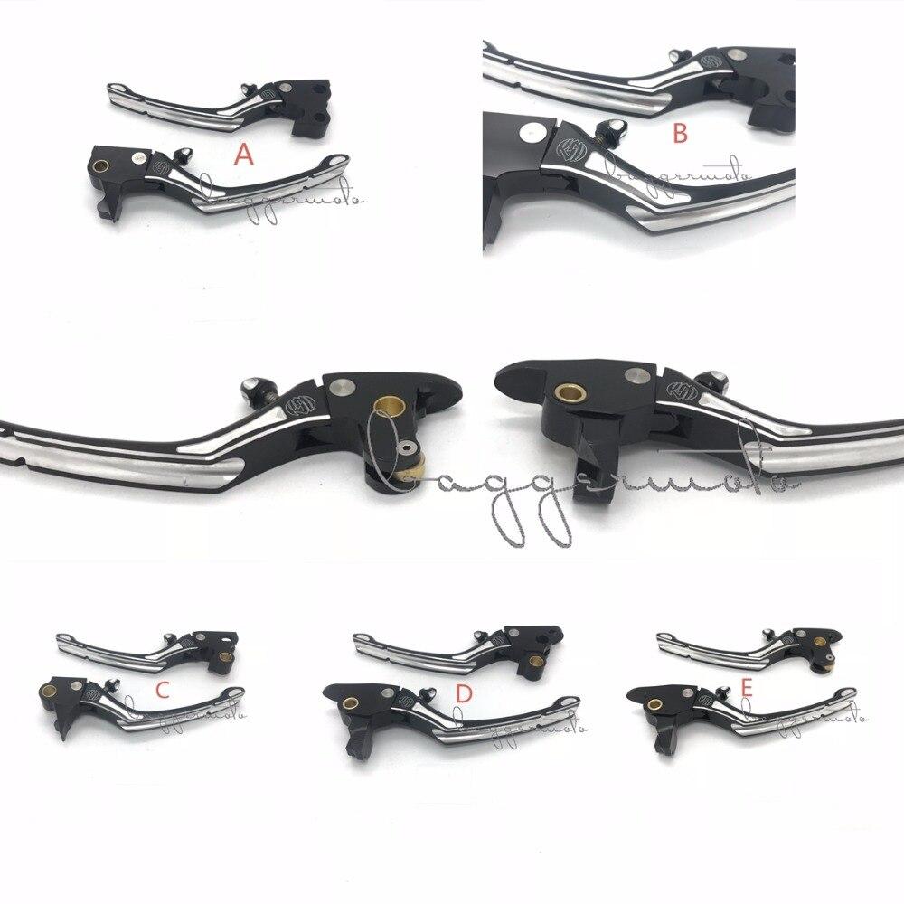 Good Quality Black Contrast Cut Regulator Clutch &amp; Brake Lever Set for Harley Sportster 883 1200 Touring Road King Softail 08-17<br>