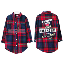 children sleeve plaid shirt2016 new arrival spring long sleeve plaid girl blouse turn down long style children shirts girls 2-7T