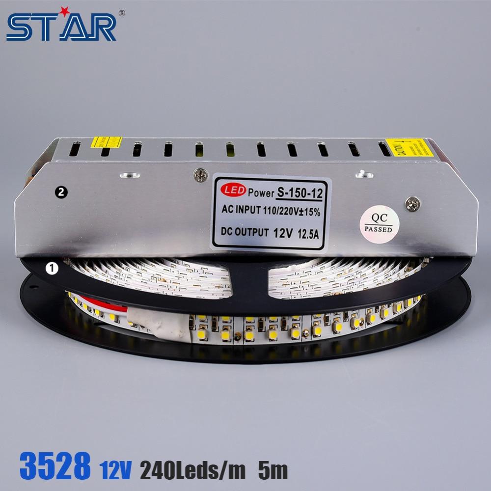 5M SMD3528 Flexible LED Strip 240leds/m IP20 IP65 DC12V LED Tape Ledstrip Light with 150W LED Transformer Power Supply Adapter<br><br>Aliexpress