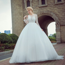 New Arrival Vestido de Noiva 2017 Long Sleeve Wedding Dresses Sheer Tulle Back Sexy Bride Dresses Wedding Gowns Pearls Princess(China)